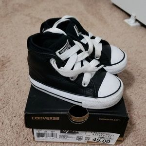 Infant Boys Leather Converse high tops
